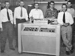 The Ampex team with the first practical video recorder. Can anybody identify the third guy from the left? Answer below.
